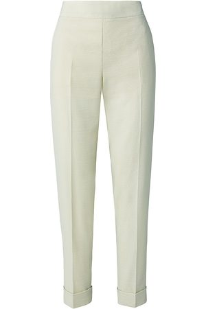 AKRIS Women's Chris Wool & Silk Seersucker Pants - Phosphor - Size 12