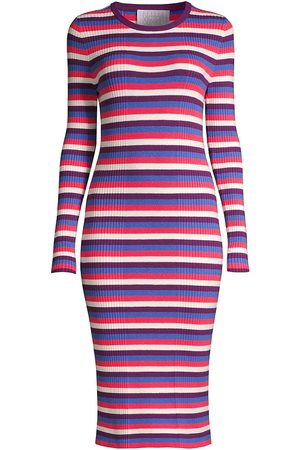 Victor Glemaud Women Midi Dresses - Women's Striped Long-Sleeve Ribbed Dress - Size Small