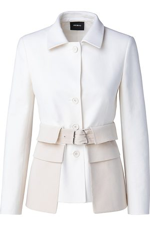 AKRIS Women's Narino Bi-Color Belted Flap Pocket Jacket - Ecru - Size 14