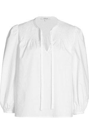 Derek Lam Women's Austin Smocked Top Blouse - Optic - Size 12