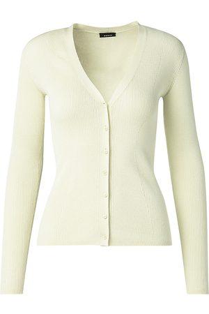AKRIS Women Cardigans - Women's Sea Island Cotton Ribbed Cardigan - Phosphor - Size 16