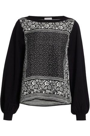 See by Chloé Women Hoodies - Women's Portobello Knit Mix-Media Silk-Blend Sweatshirt - - Size Large