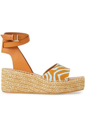 Lafayette 148 New York Women's Margot Canvas & Leather Espadrille Platform Wedge Sandals - Honey Nut - Size 9.5