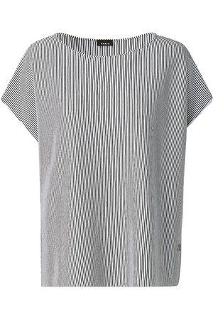 AKRIS Women T-shirts - Women's Wool & Silk Striped Oversized T-Shirt - Ecru - Size 16