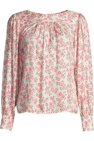REBECCA TAYLOR Women Blouses - Women's Fleur Printed Blouse - Bone Combo - Size XS