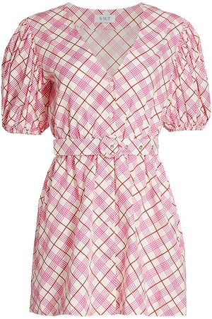 SWF Women Party Dresses - Women's Homecoming Puff-Sleeve Plaid Mini Dress - Cottage - Size Large