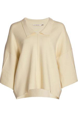 Gestuz Women Polo Shirts - Women's Talli Oversized Polo Pullover - Egret - Size XL
