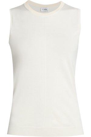 ST. JOHN Women's Fine Jersey Knit Shell Top - Ecru - Size XL