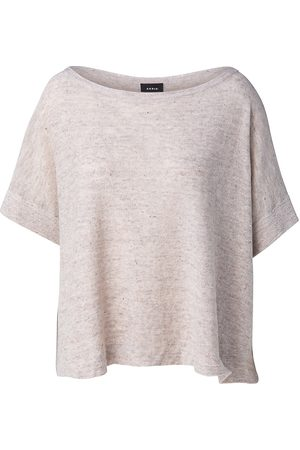 AKRIS Women's Sequin Embellished Linen-Blend Boatneck T-Shirt - Greige - Size 12
