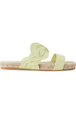 Lafayette 148 New York Women Sandals - Women's Ondine Woven Leather Espadrille Slides - Key Lime - Size 5.5 Sandals