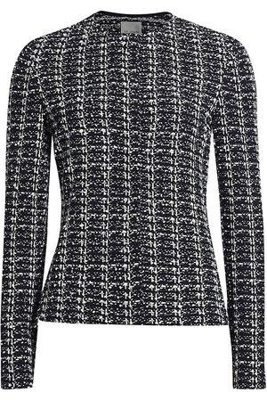 ST. JOHN Women Knitted Dresses - Women's Textured Inlay Knit Jacket - Navy Ecru - Size 6