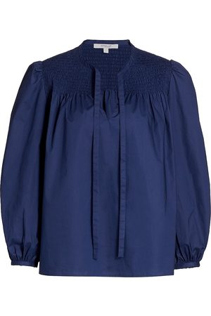 Derek Lam Women's Austin Smocked Top Blouse - Deep - Size 14