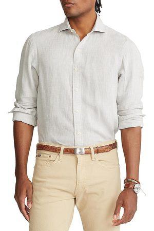 Polo Ralph Lauren Men Polo Shirts - Men's Classic-Fit Linen Sport Shirt - Grey - Size Medium