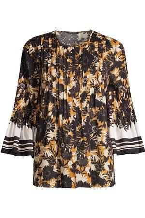 Kobi Halperin Women's Gianna Floral Flare-Sleeve Blouse - Caramel Multi - Size XL