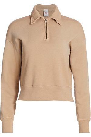 RE/DONE Women Denim - Women's 70s Half-Zip Sweatshirt - Faded Khaki - Size XS