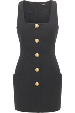 Balmain Women Party Dresses - Buttoned Wool Grain De Poudre Mini Dress
