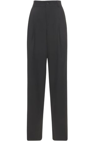 Saint Laurent Wool Grain De Poudre Wide Leg Pants