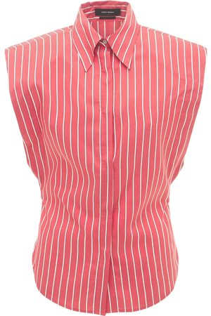 Isabel Marant Enza Sleeveless Striped Silk Shirt