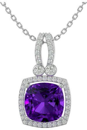 SuperJeweler Women Necklaces - 3 Carat Cushion Cut Amethyst & Halo Diamond Necklace in 14K (5.50 g)