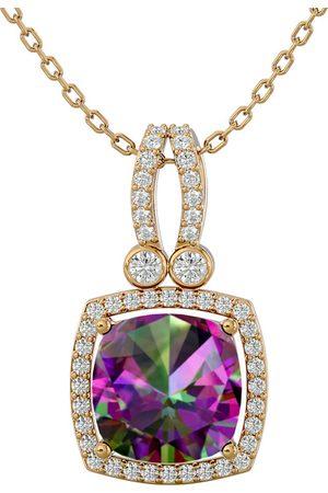 SuperJeweler Women Necklaces - 3 3/4 Carat Cushion Cut Mystic Topaz & Halo Diamond Necklace in 14K (5.50 g)