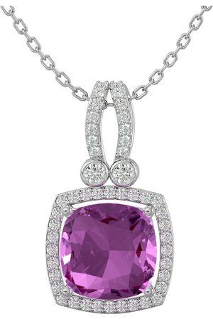 SuperJeweler 3 3/4 Carat Cushion Cut Pink Topaz & Halo Diamond Necklace in 14K (5.50 g)