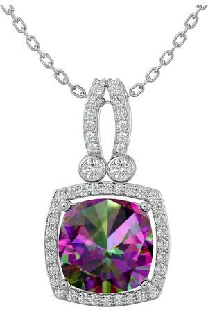 SuperJeweler 3 3/4 Carat Cushion Cut Mystic Topaz & Halo Diamond Necklace in 14K (5.50 g)