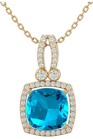 SuperJeweler 3 3/4 Carat Cushion Cut Blue Topaz & Halo Diamond Necklace in 14K (5.50 g)