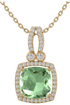 SuperJeweler 3 Carat Cushion Cut Green Amethyst & Halo Diamond Necklace in 14K (5.50 g)
