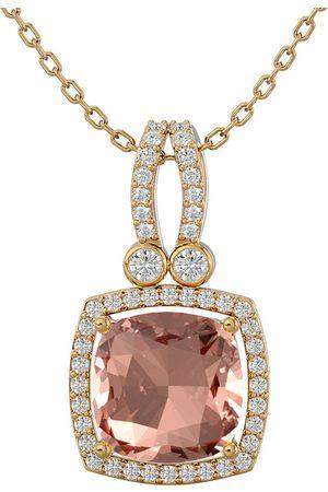 SuperJeweler 3 1/3 Carat Cushion Cut Morganite & Halo Diamond Necklace in 14K (5.50 g)