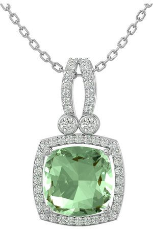 SuperJeweler Women Necklaces - 3 Carat Cushion Cut Green Amethyst & Halo Diamond Necklace in 14K (5.50 g)