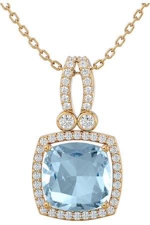 SuperJeweler 3 Carat Cushion Cut Aquamarine & Halo Diamond Necklace in 14K (5.50 g)