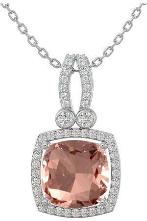 SuperJeweler Women Necklaces - 3 1/3 Carat Cushion Cut Morganite & Halo Diamond Necklace in 14K (5.50 g)