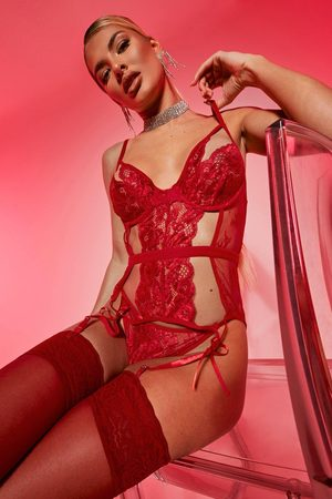 Boohoo Womens Cut Out Basque And String Set - - S