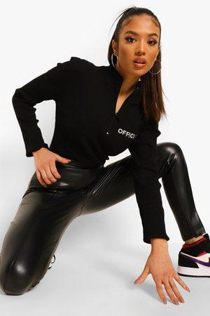 Boohoo Womens Petite Premium Sculpting Leather Look Pants - - 2