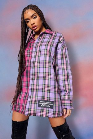 Boohoo Womens Contrast Flannel Padded Oversized Shirt - - 2