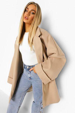 Boohoo Womens Wide Sleeve Oversized Wool Look Jacket - - 2