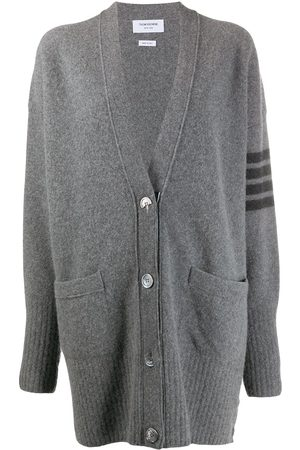 Thom Browne Women Cardigans - 4-Bar exaggerated V-neck cardigan - Grey