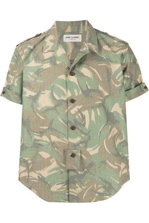 Saint Laurent Camouflage print short-sleeve shirt
