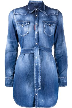 Dsquared2 Distressed belted denim shirt
