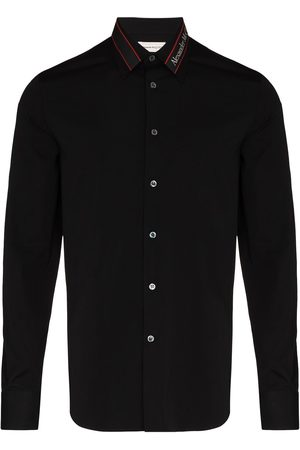 Alexander McQueen Men Long sleeves - Long-sleeved logo tape shirt