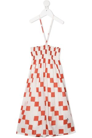 The Animals Observatory Checkered-print ruched cotton dress - Neutrals
