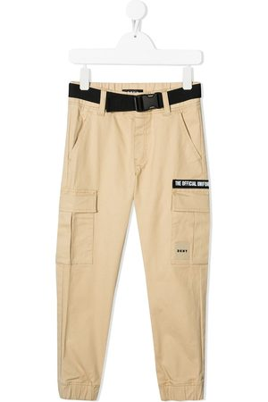 DKNY Logo-patch cotton cargo trousers - Neutrals