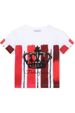 Dolce & Gabbana Vertical-stripe logo-print T-shirt
