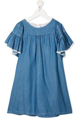 Chloé Ruffe-trimmed denim dress