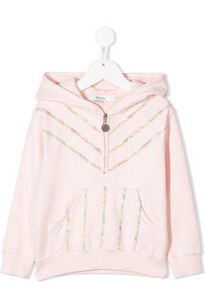 BONPOINT Half-zip floral stripe hoodie