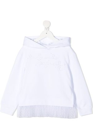 ERMANNO SCERVINO JUNIOR Tulle-hem cotton hoodie