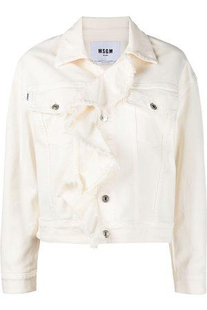 Msgm Ruffle-trim denim jacket - Neutrals