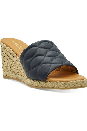 Andre Assous Women's Analise Square Toe Quilted Leather Espadrille Wedge Sandals