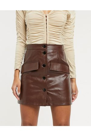 ASOS Leather look button through mini skirt in