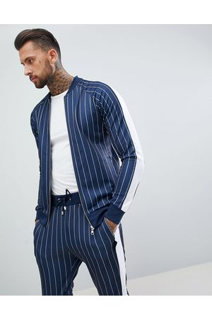 The Couture Club Muscle fit track top in pinstripe with side stripe-Navy